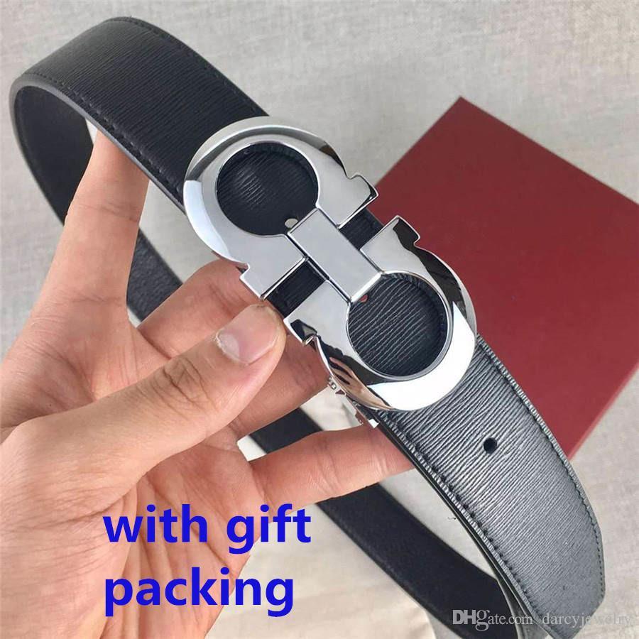 أحزمة رجالي جلد البقر المرأة موضة الحزام الإبزيم السلس عرض 3.5CM جودة عالية مع هدية BOX