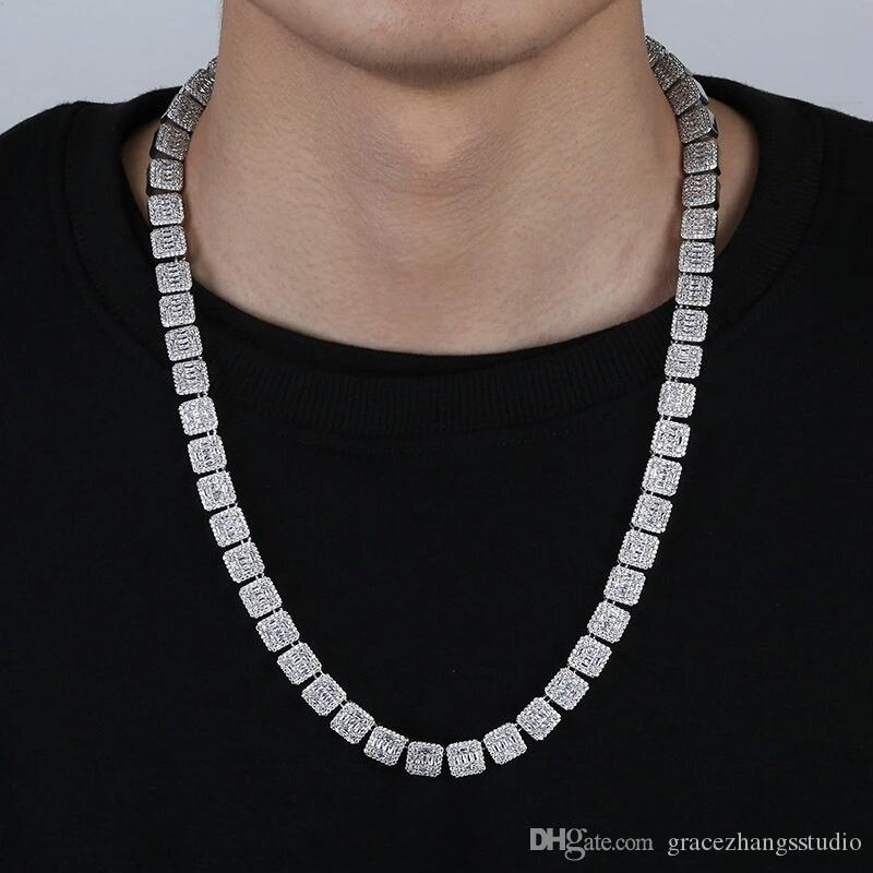 18 pulgadas 22 pulgadas 10 mm hip hop cuadrados cadenas de diamantes para hombres lujo cadenas de diamantes collares oro plata cadena cubana joyas regalos para bf
