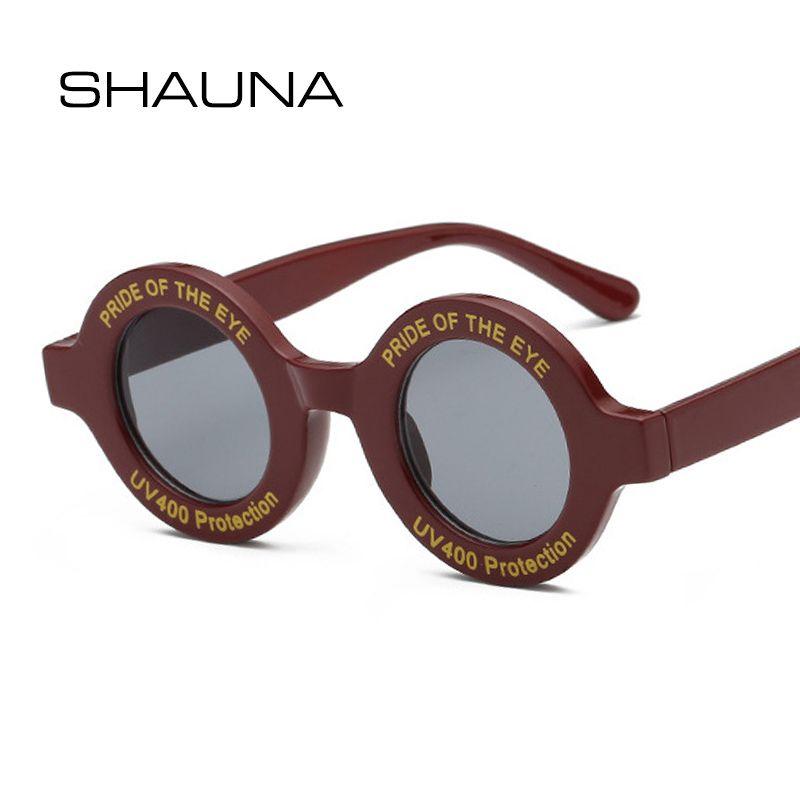all'ingrosso Ins popolari Retro piccoli occhiali da sole rotondi Donne Lettera Frame Moda occhiali da sole UV400