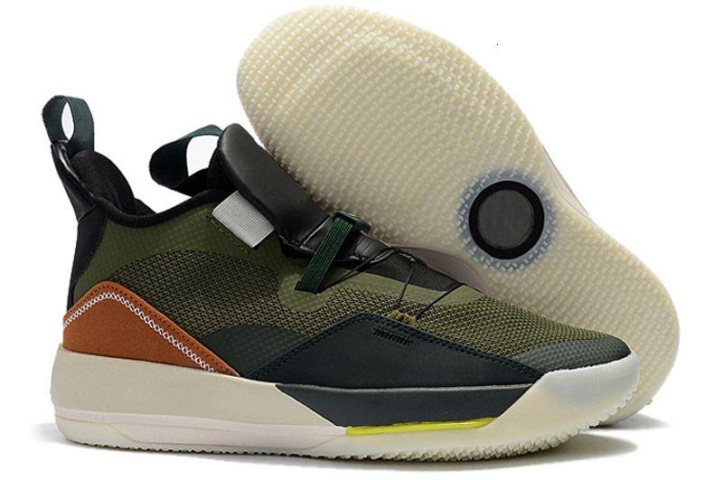 Hohe Qualität Jumpman XXXIII 33 Travis X Schwarz Armygreen Olive Männer-Basketball-Schuhe 13s Dmp Grau Toe Geschichte der Flug Turnschuhe Größe 40-46