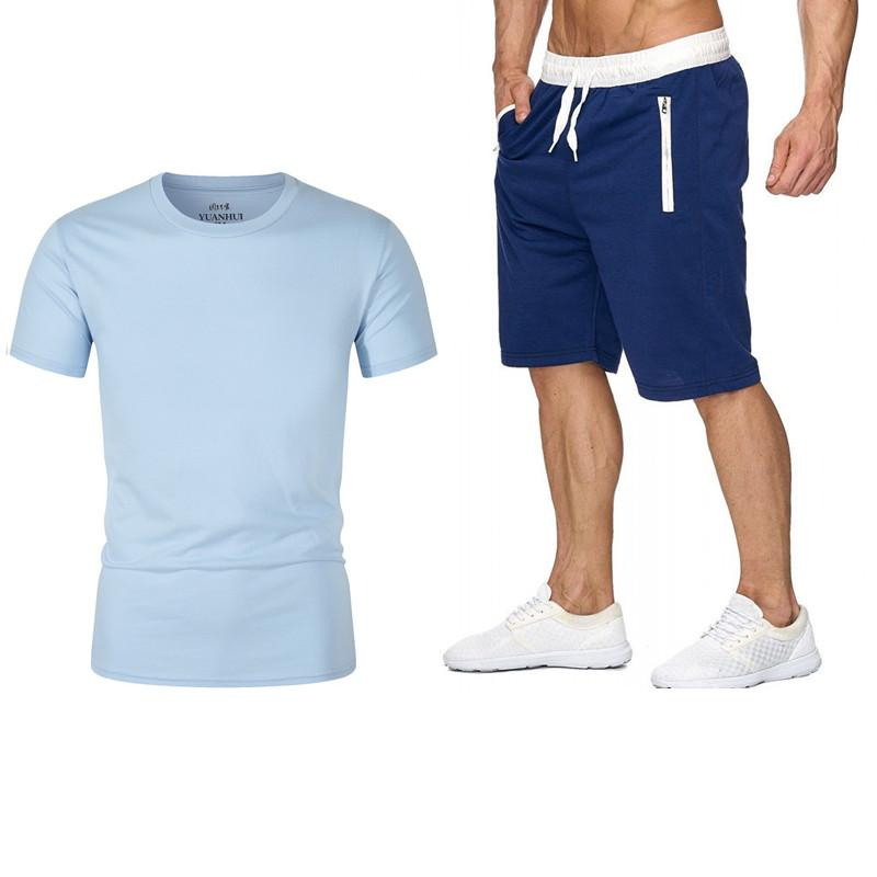 Summer 2020 new promotion printed cotton T-shirt + shorts casual suit men's casual fashion running clothes