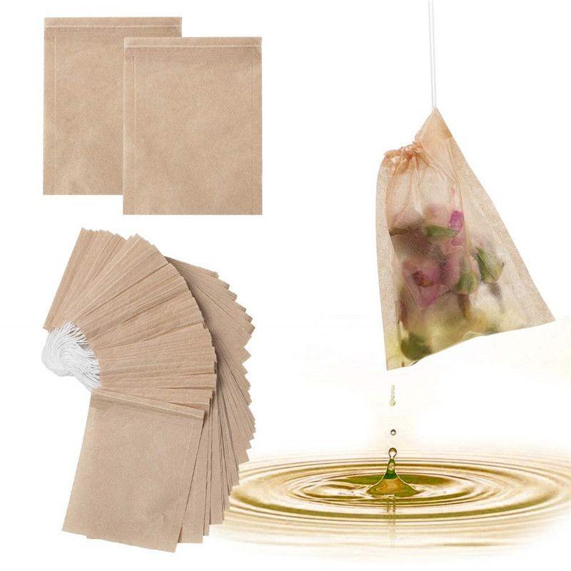 Doğal Unbleached Kağıt Çay Poşet Tek Kullanımlık Çay demlik İpli Çanta Çanta boşaltın 100 Adet / Lot Çay Filtre Torbaları