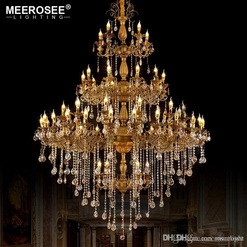 Luxurious Huge Crystals Chandelier Light Fixture Vintage Lustres Hanging Lamp for Villa Hotel Project Candle Luminaires Lighting