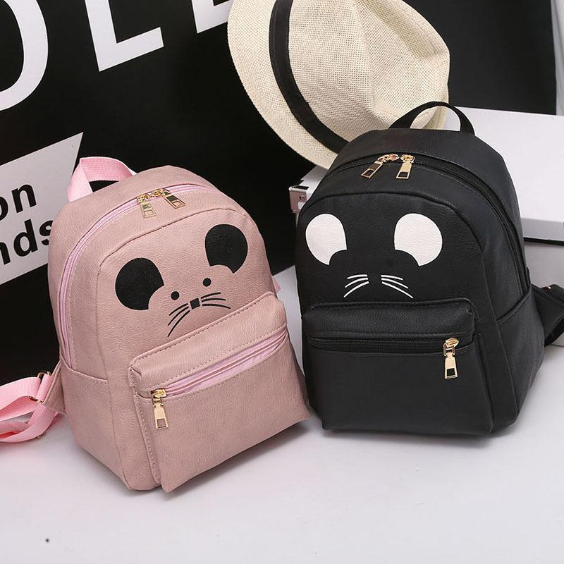 Angel2019 Mouse Lovely Twinset Backpack Estate e autunno Tempo libero Entrambe le spalle Pacchetto Campus Student A Bag