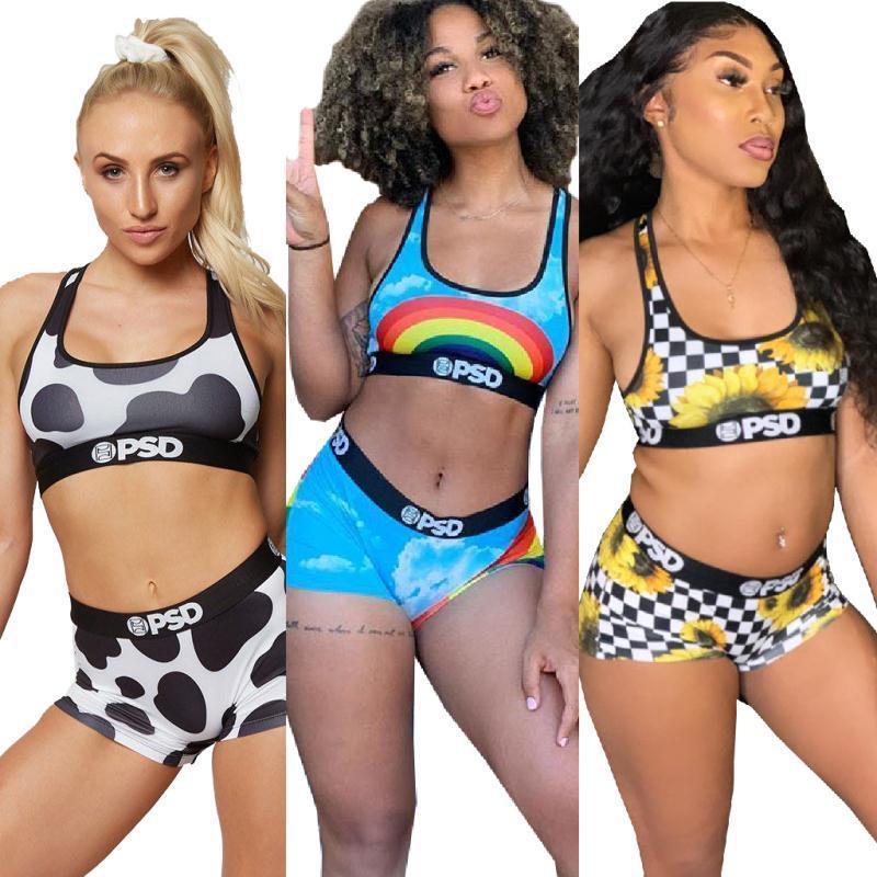 Design PSD Femmes Ensemble 2 pièces Maillots de sport Soutien-gorge Bermudas Survêtement Quick Dry Bikini Maillots de bain Vêtements Set
