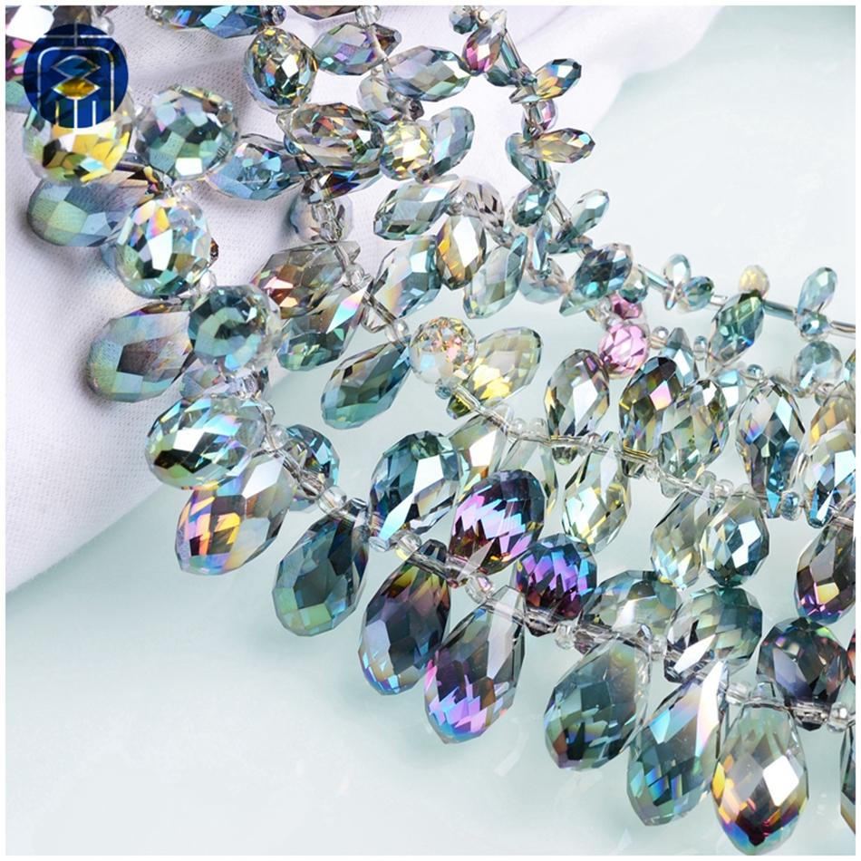 Crystal Loose Teardrop Pendant 10x20mm Wholesale Faceted Glass  Beads 30pcs