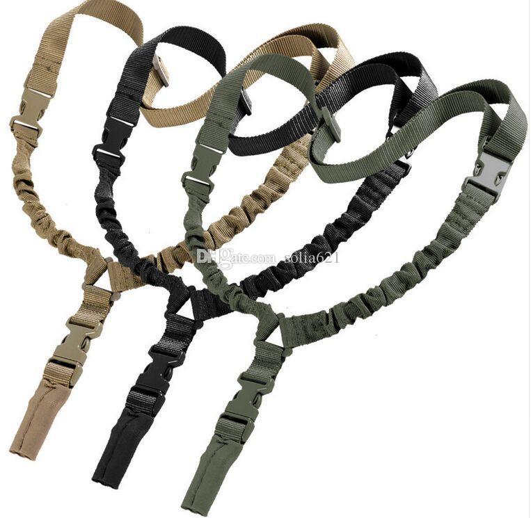 Heavy Tactical Um Único Ponto Sling Ajustável Bungee Ombro cinta de comprimento cinto de estilingue
