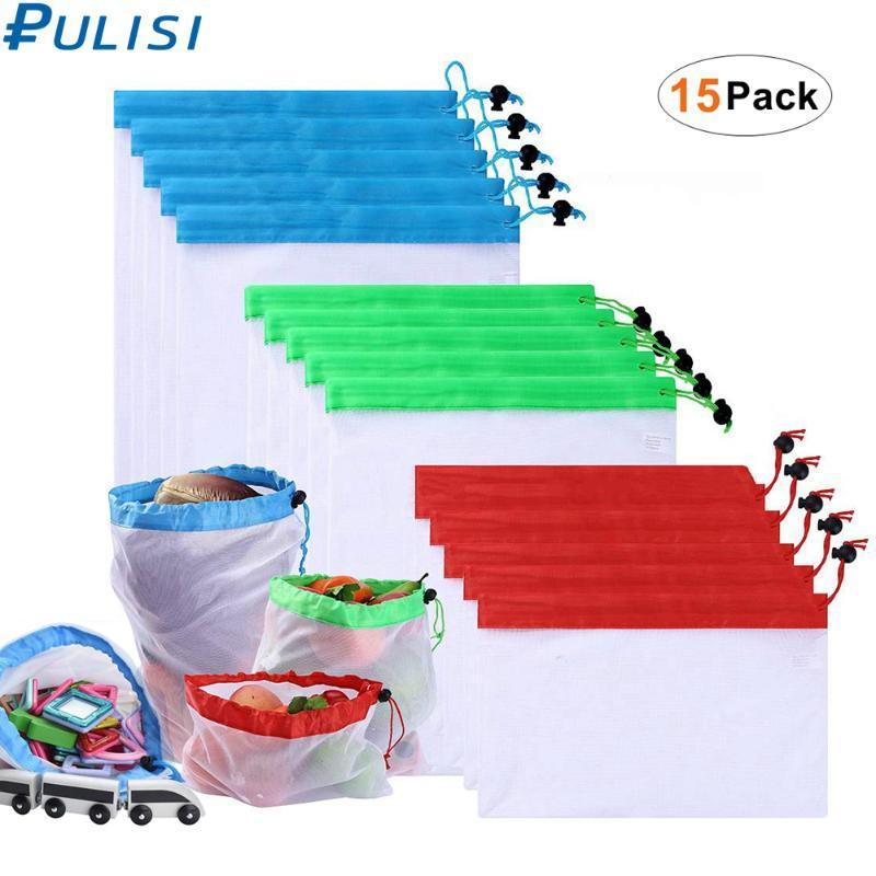 15PCS reutilizable malla producir bolsas de seguridad bolsas de malla con cordón para las frutas vegetales comestibles Juguetes bolsa de almacenamiento L M S