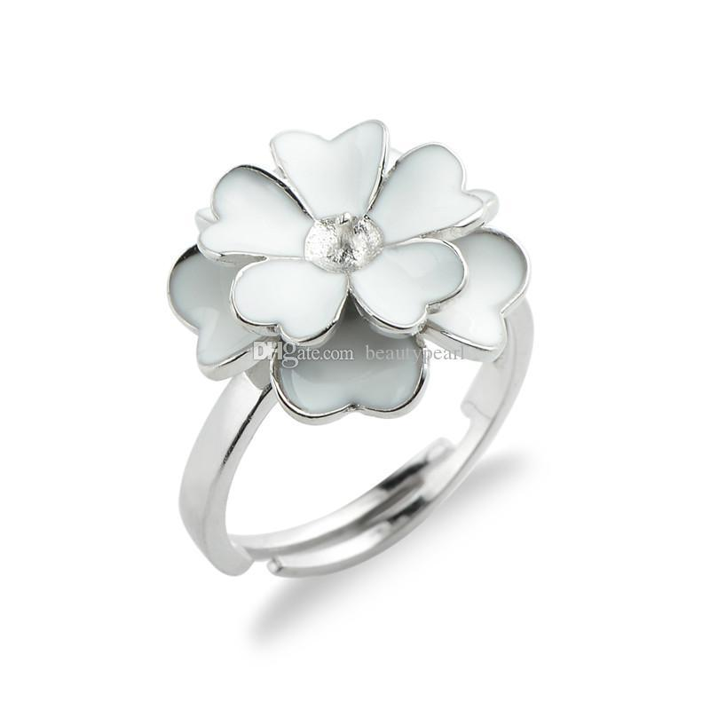 White Flower Cluster Ring Pearl Settings 925 Sterling Silver Blanks Ring Base for DIY Making 5 Pieces