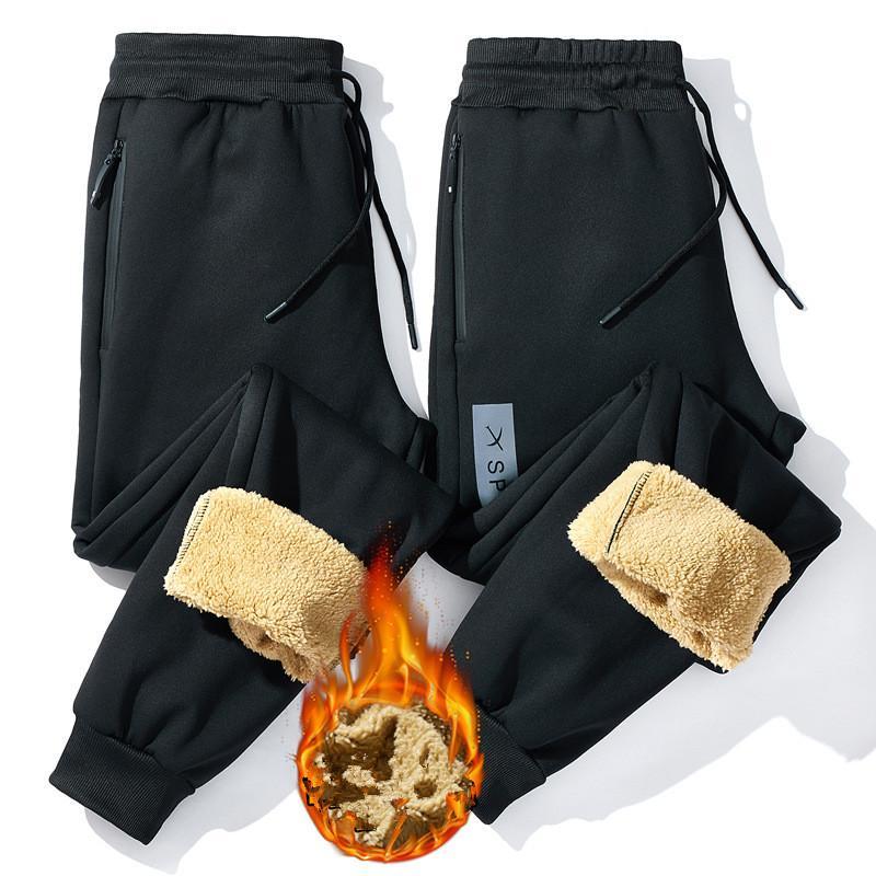 Spor Pantolon Erkekler Koşucular Kış Pantolon Casual Pantolon Kalınlaşma Sıcak Sweatpants Artı boyutu Kore Pantolon Siyah 5XL