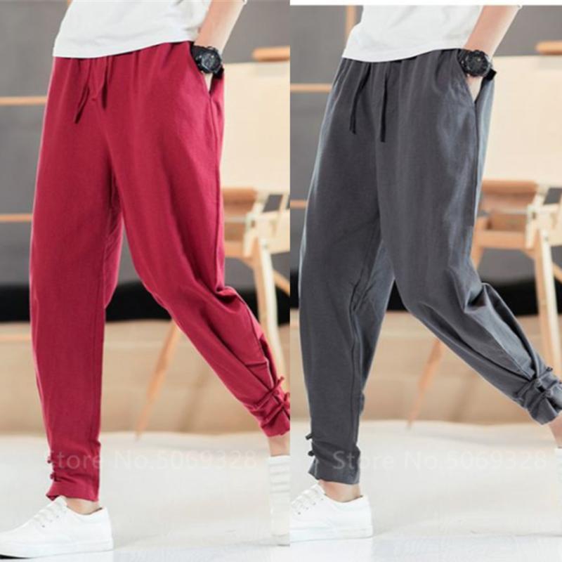 Men Apanese Style Pants Samurai Man Kimono Homme Clothing Cardigan Chinese Solid Cotton Loose Plus Bottom Adult Trousers