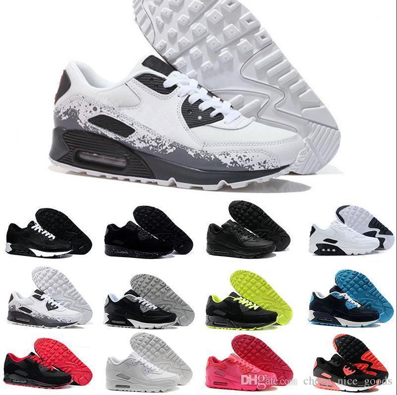 2019 gros Chaussures de sport Mode Hommes Chaussures Classique 90 hommes et femmes Chaussures Run Sports formateur Coussin 90 surface respirant sport Chaussures 36-45