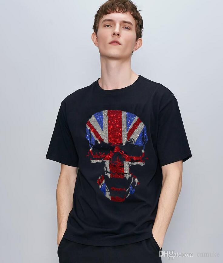 cor preta Cotton Mens camiseta Streetwear Elastic hip pop Casual a04 Hot broca camisetas meninos Pedrinhas