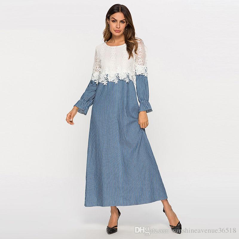 Compre Moda De Encaje A Rayas Patchwork Vestidos De Mujer Primavera 2019 Manga Larga Vestido Largo Maxi Urban Casual Azul Con Blanco A 2477 Del