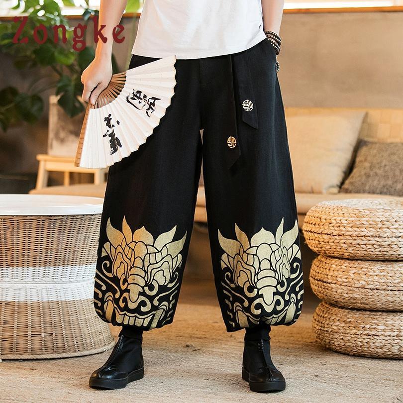 Commercio all'ingrosso Tigre cinese stampato pantaloni gamba larga uomo pantaloni giapponese Streetwear Hip Hop Pantaloni uomo pantaloni uomo pantaloni 2019 Nuovo
