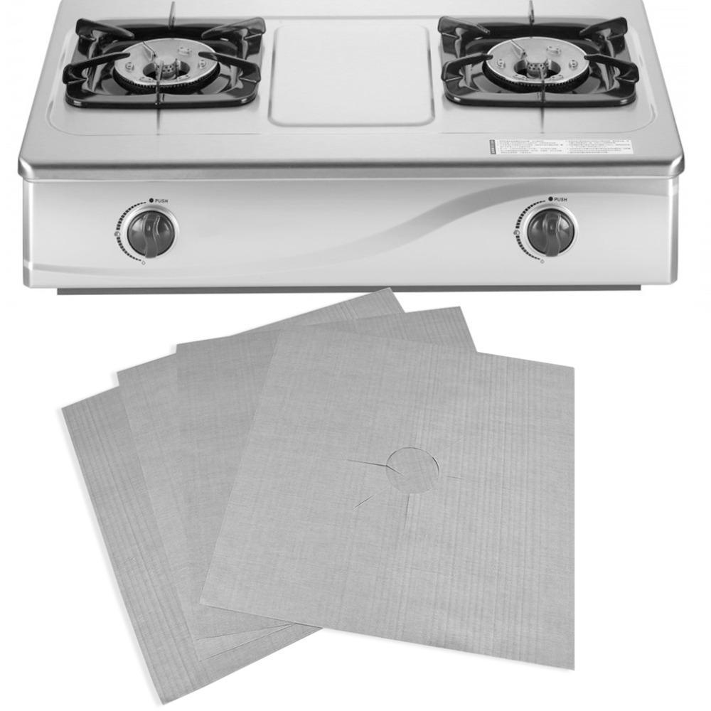 Yeniden kullanılabilir Alüminyum Folyo 4pcs / lot Gaz ocağı Koruyucular Kapak / Mutfak Kullanımı için Liner Yeniden kullanılabilir Sigara Çubuk Silikon Bulaşık makinesinde yıkanabilir