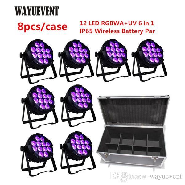 Impermeable de la batería Desarrollado Etapa inalámbrico DMX LED PAR LED 12 * 18W UV RGBAW 6en1 aire libre DJ Uplighting boda Uplight IP65