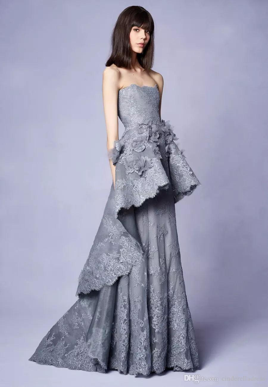 Marchesa Resort 2019 Collection Long Grey Lace Evening Gowns With 3d Floral Embellishments Strapless Neckline Party Prom Dresses Spree Evening Dresses
