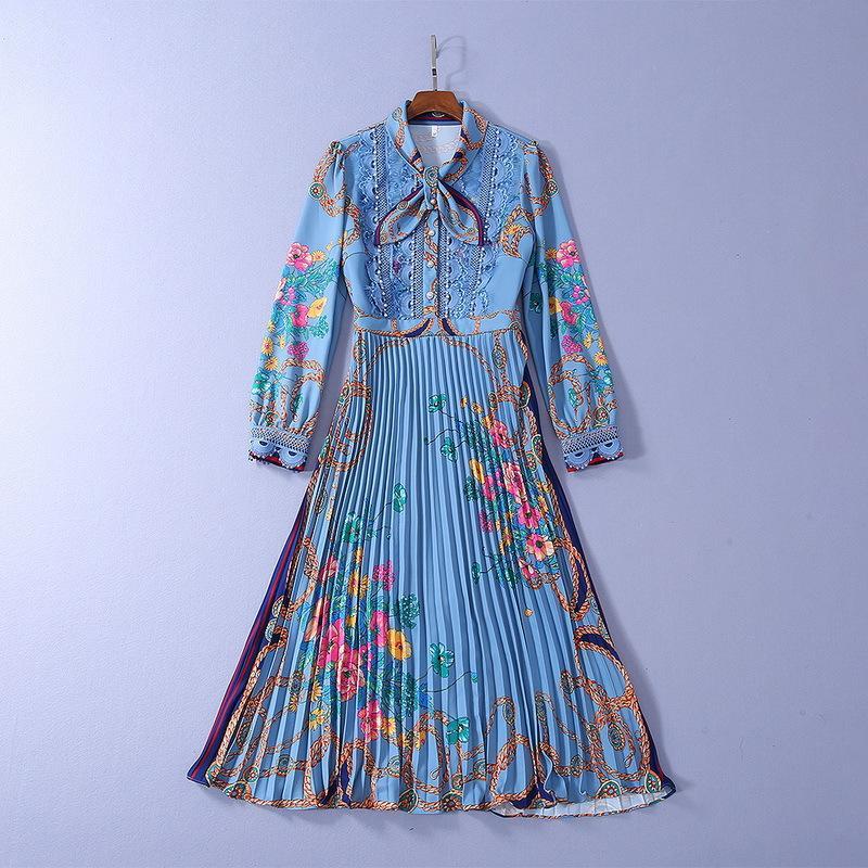 408 2020 de primavera y verano de vestir de manga Marca mismo estilo solapa del cuello Perlas de una larga línea de moda de lujo vestido de Prom SH