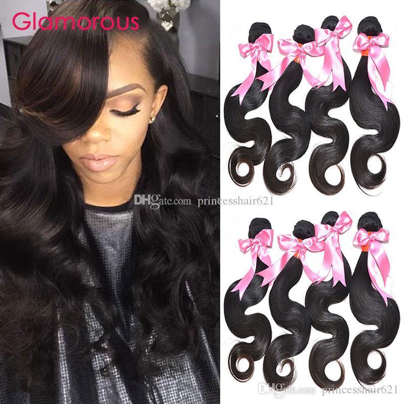 매력적인 100 % 인간의 머리카락 확장 체내 웨이브 4 번들 자연 색 브라질 짜다 매력적인 머리 패션 스타일 버진 인간의 머리카락 짜기