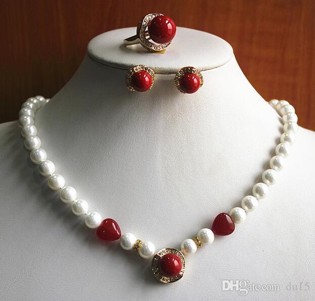gargantilha casamento melhor presente set Atacado branco pérola e vermelho simples colar brinco anel (7/8/9) definir prata-jóias reais keshi