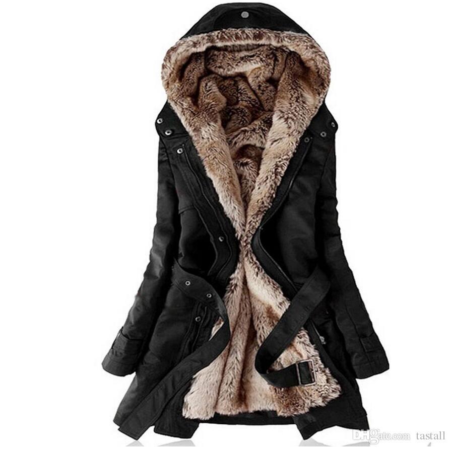 Taklit kürk astarlı kadın mont kürk Kapüşonlular Bayanlar Sping kış sıcak uzun ceket ceket pamuk giysiler termal parkas