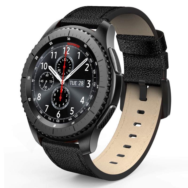 Bandas de cuero para Galaxy reloj 42mm 46mm Activo 2 Gear S3 Band 20 de 22 mm Mira la correa para Ticwatch E Amazfit Bip SmartWatch Correa