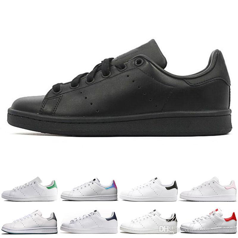 Acheter Adidas Smith 2019 Hot Smith Hommes Femmes Chaussures Stan Noir Blanc Rouge Bleu Argent Rose Baskets Smith Casual Chaussures Leathe Taille 36 ...