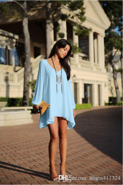 2019 women fashion high quality loose fall dresses casual skirt women tops loose dressnew loose V collar seven point sleeve dress