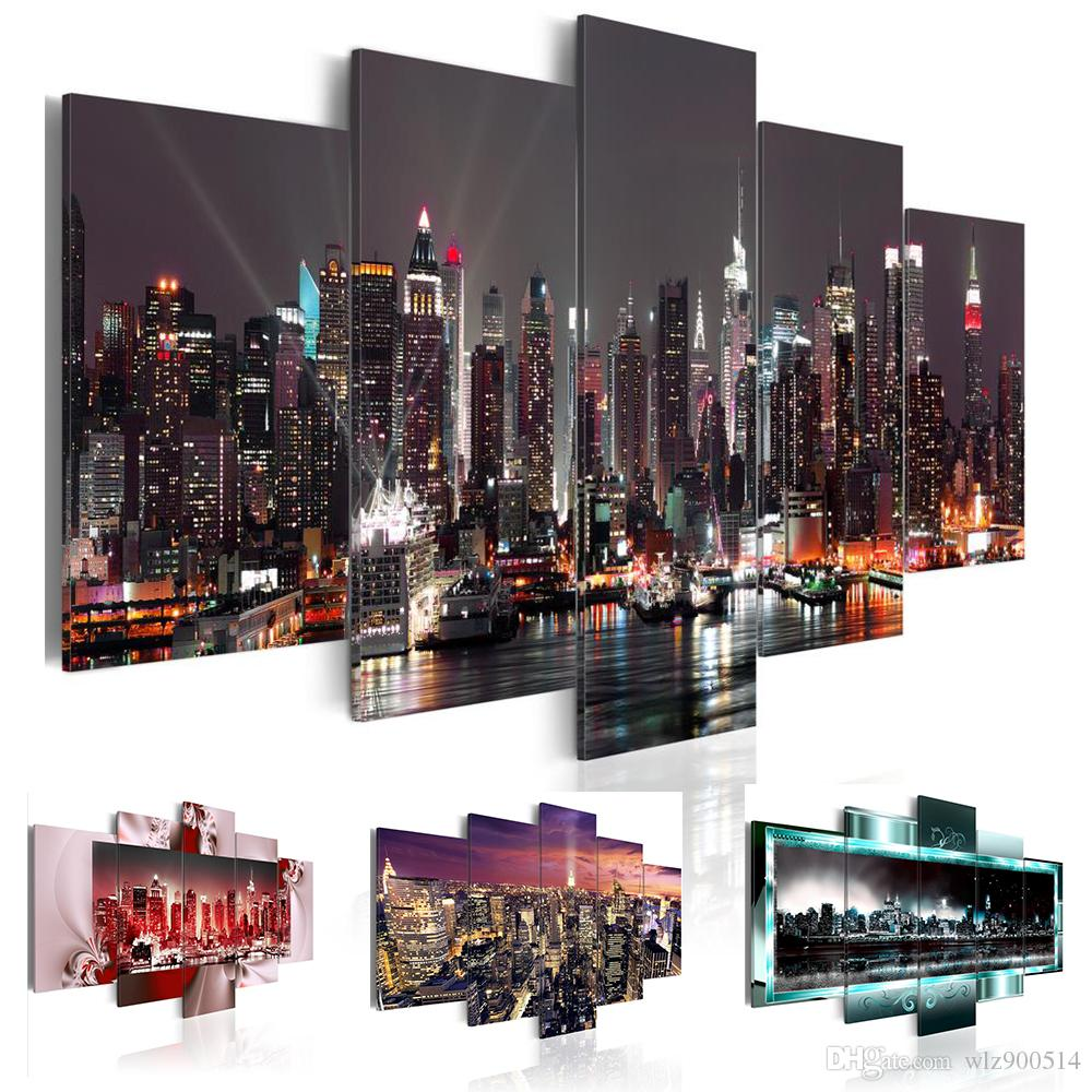5 Pcs HD Beautiful City Building Canvas Print Painting Wall Art Picture Gift,Home Decoration Painting for Living Room( No Frame )