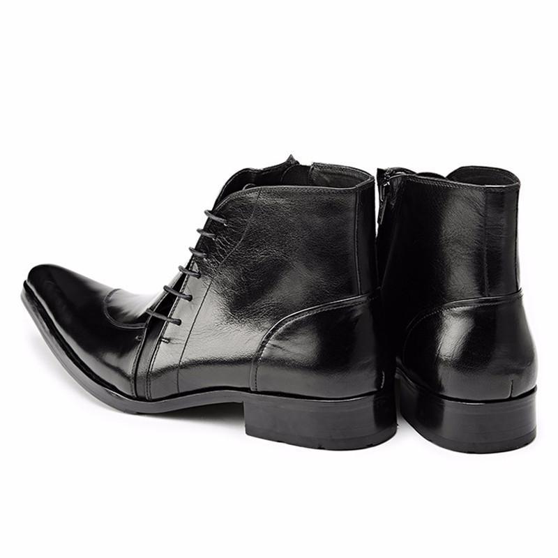 Genuine Leather Cowboy Men Boots Lace Up Ankle Boots Fashion Metallic Wedding Party Men Dress Shoes Business Oxfords Shoes