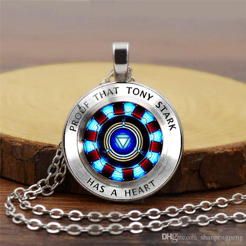 2019 New Creative Pendant Necklace Accessories Iron Man Heart Time Gemstone Necklace Poly Energy Fashion Pendant Necklace Sweater Chain