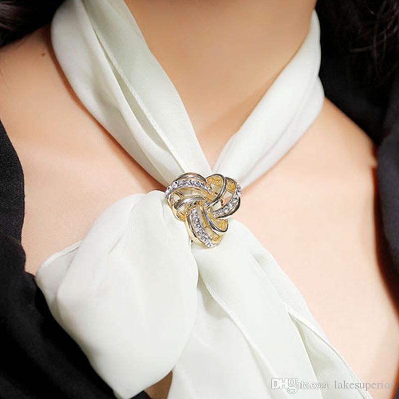 Female Large Scarf Shawl Buckle Three Ring Dual-purpose Silk Scarf Clasp Jewelry