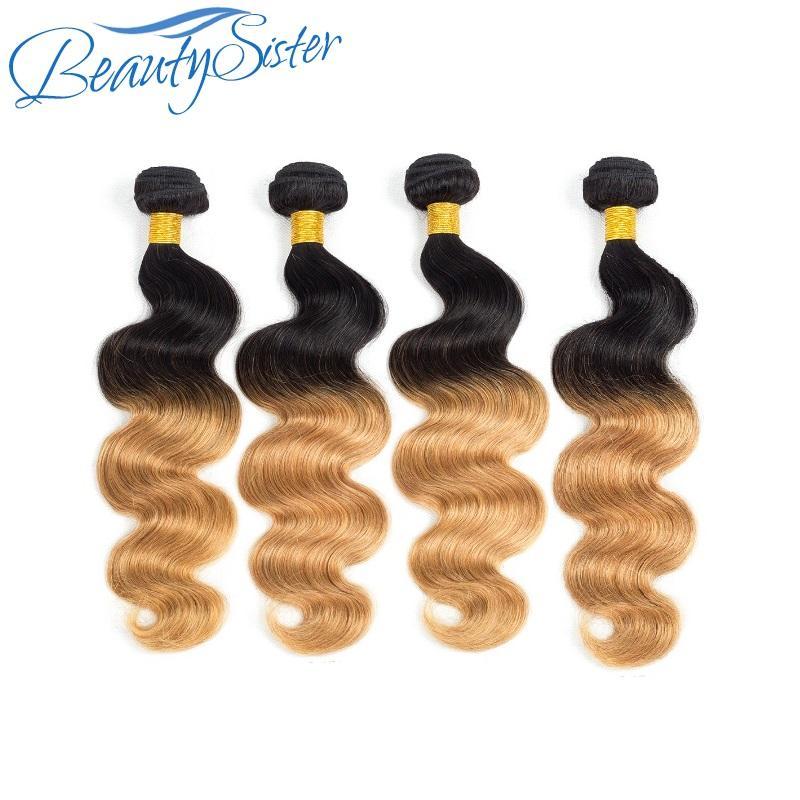 ali reine gaga vierge de cheveux humains hombre faisceaux beaucoup de vague corps brazilian 4pieces cheveux vierge color1b / 27 du matériel de cheveux remy fait