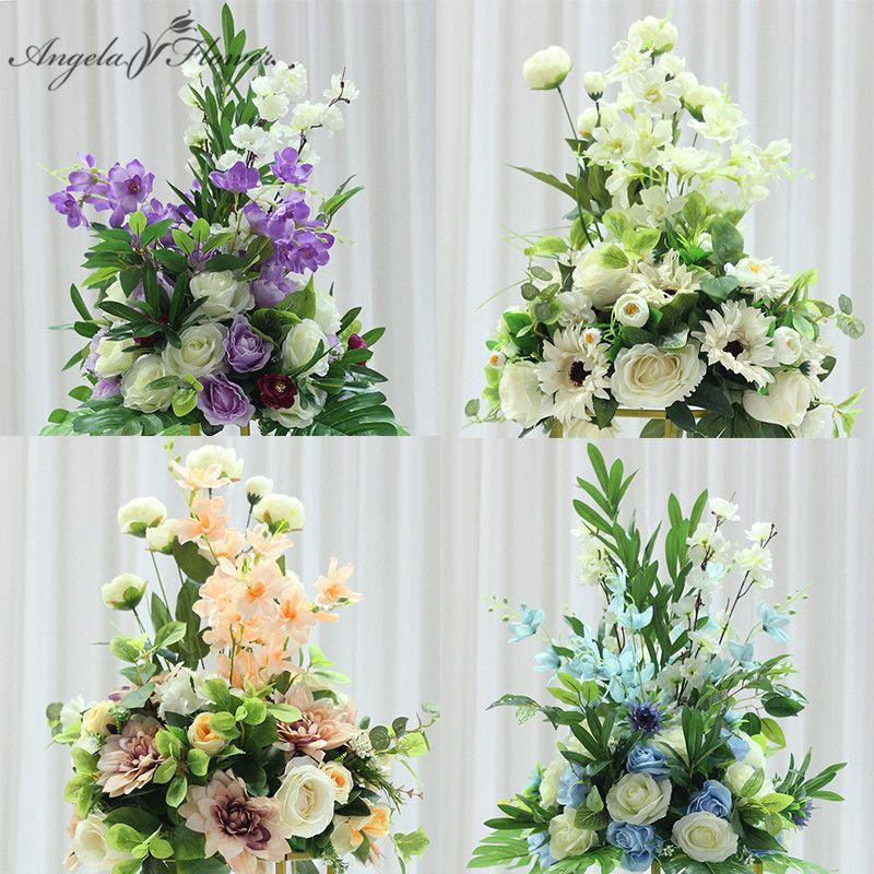 Personnaliser 38 cm centre de table de mariage décoration table de fleur artificielle centres de table feuille toile de fond route plomb table boule floral