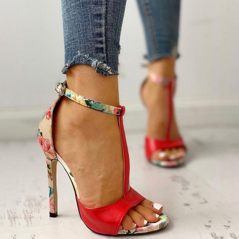 Siddons 민족 스타일 여성 하이힐 샌들 우는 소리 발가락 버클 스트랩 섹시한 하이힐 뒤꿈치 숙녀 파티 여성 샌들 펌프 신발
