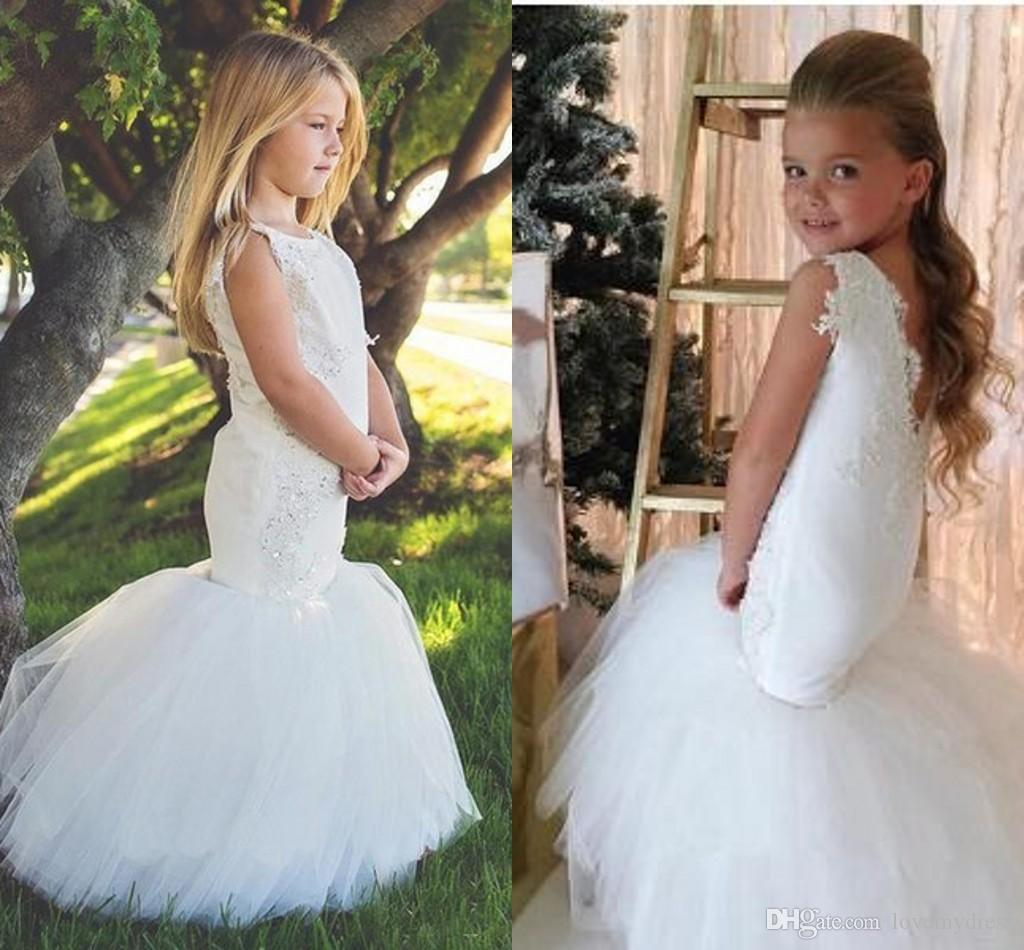 Sweety White Applique Beaded Mermaid Flower Girl Dresses For Wedding Jewel V Backless Tulle Girls Pageant Dress Little Girls Birthday Dress