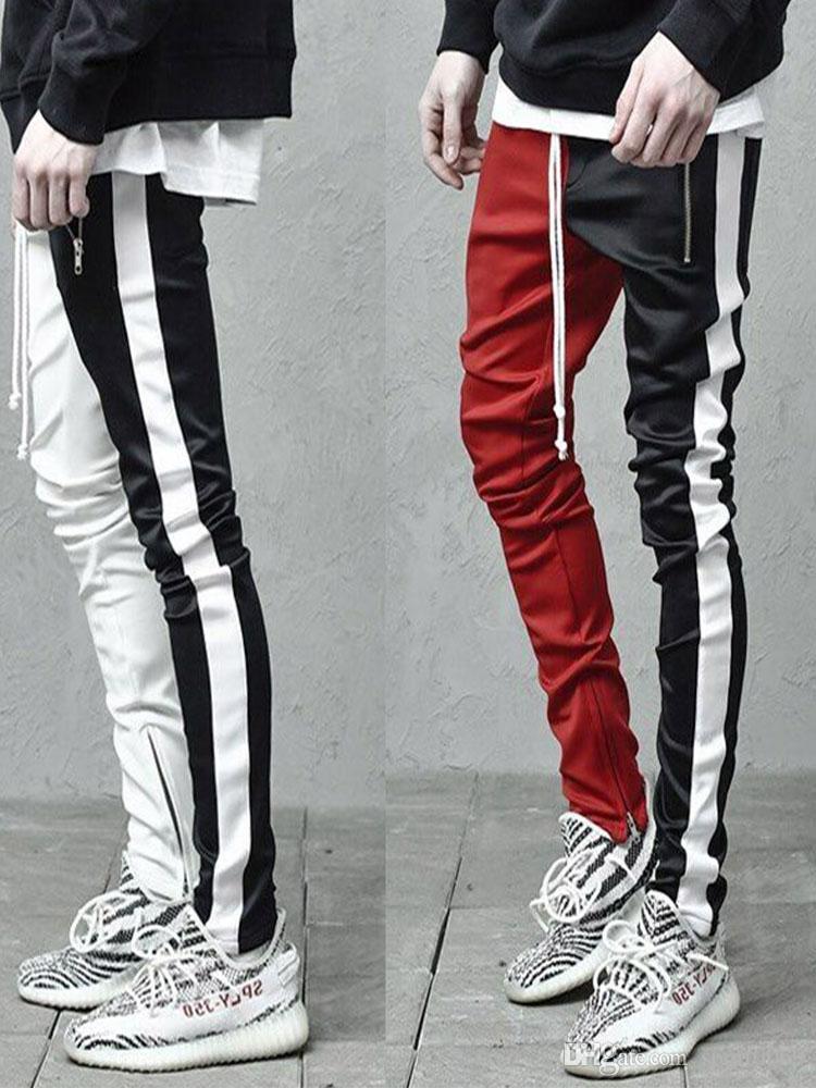 Бегуны Мужские спортивные брюки фитнес мужчины спортивная одежда низы контрастные цвета карандаш брюки спортивные брюки брюки черный белый тренажерный зал спортивные брюки