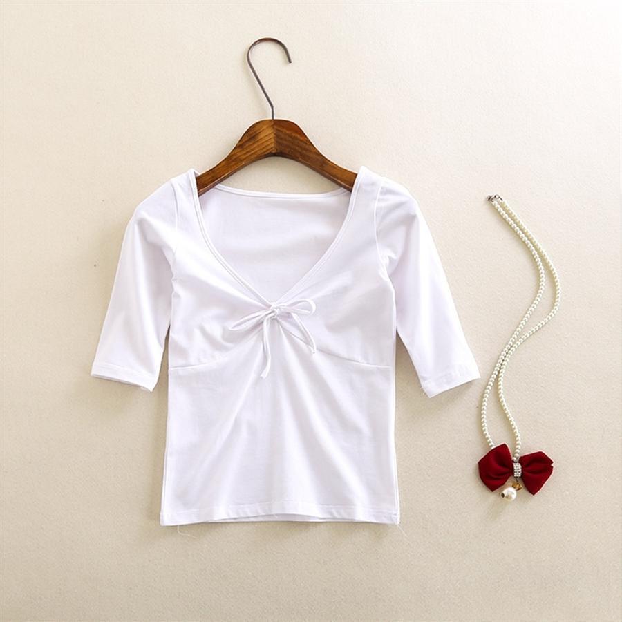 Herbst 2020 Frauen Big V-Ausschnitt Brust Knoten T-Shirt Top-T-Shirt Hülse dünnes und schlankes atmungs Halbarm oben