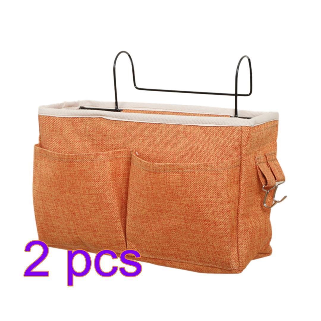 2pcs Cloth Bedside Hanging Storage Bag Holder Organizer For Dorm Bed Rails Storage Bags - Orange Black Green