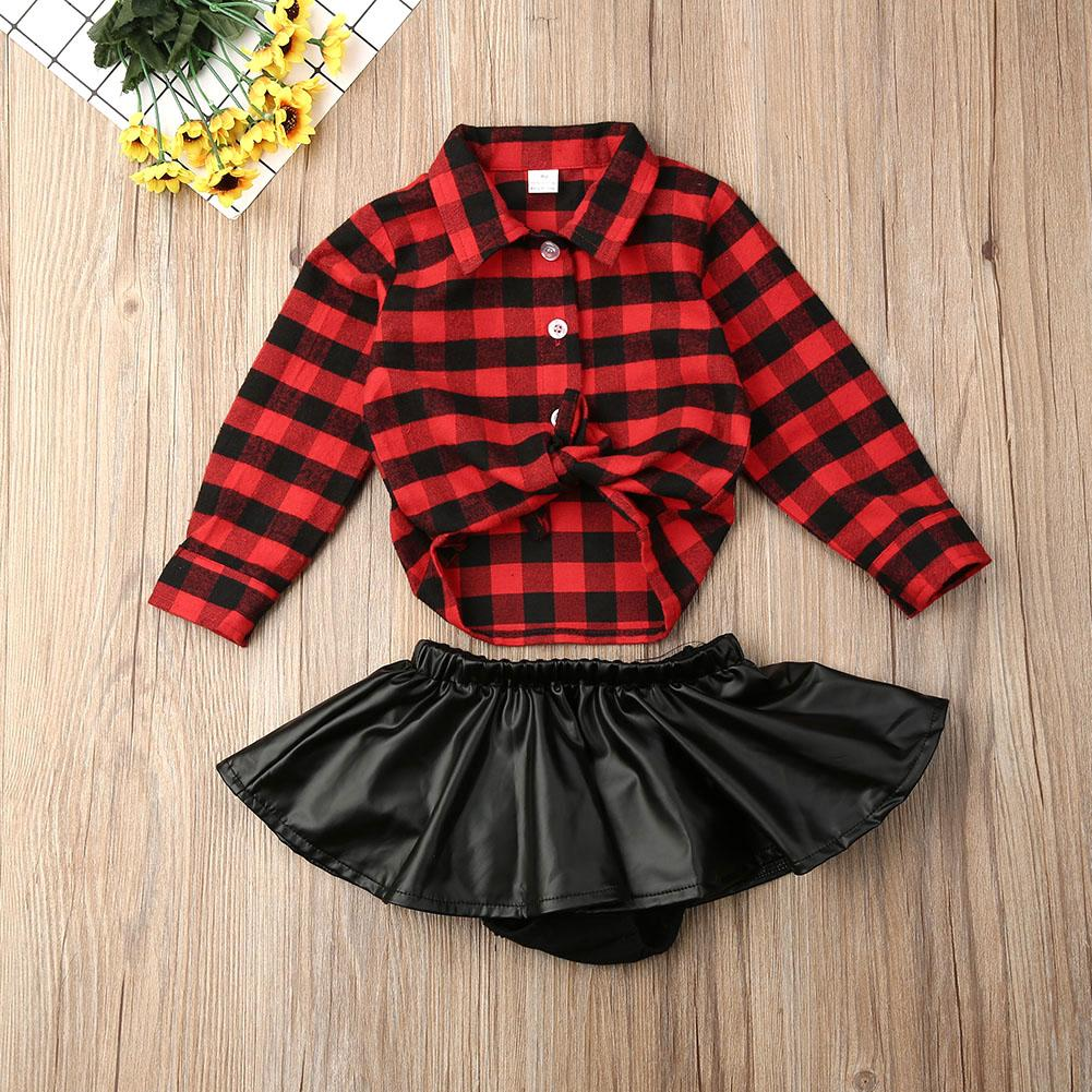 Pudcoco Fashion Toddler Baby Girls Autumn Clothes Set Red Plaids Long Sleeve Shirts Tops Leather Skirts 2PCS Girls Clothes