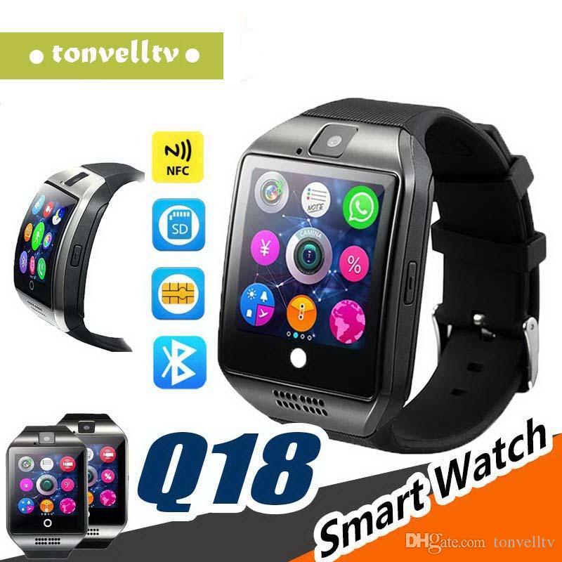Die intelligenten Uhren der intelligenten Uhr-Bluetooth-Männer Q18 für androides Telefon mit Kamera Q18 stützen TF-Karten-Verbindung mit Kleinpaket
