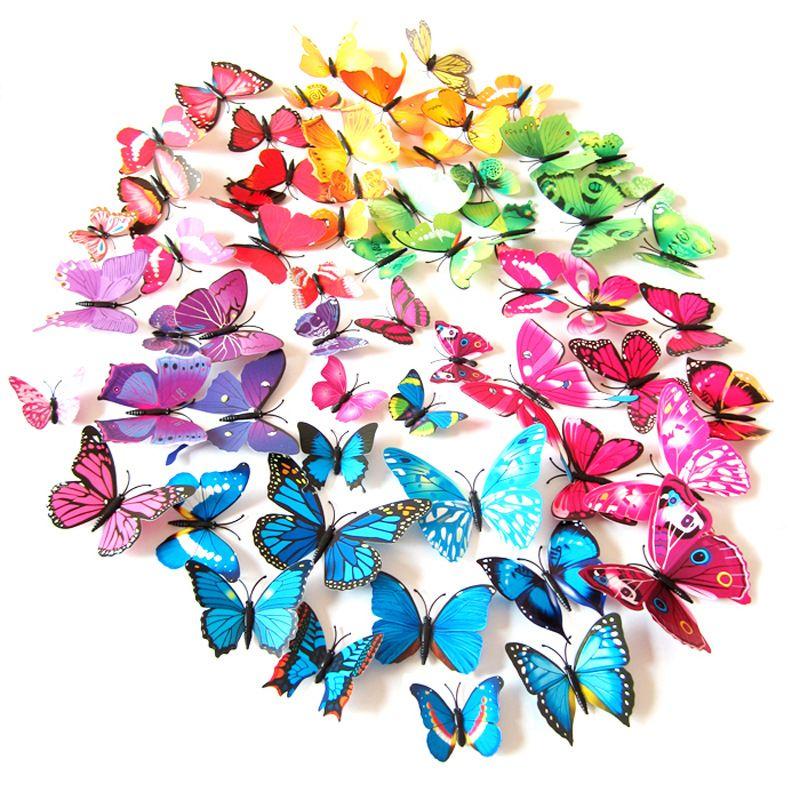 12PCS/LOT 3D Butterfly Wall Sticker Magnet Fridge Cartoon Stickers 3D Butterflies Pin PVC Removable Wall Party Home Cloth Decors C6868
