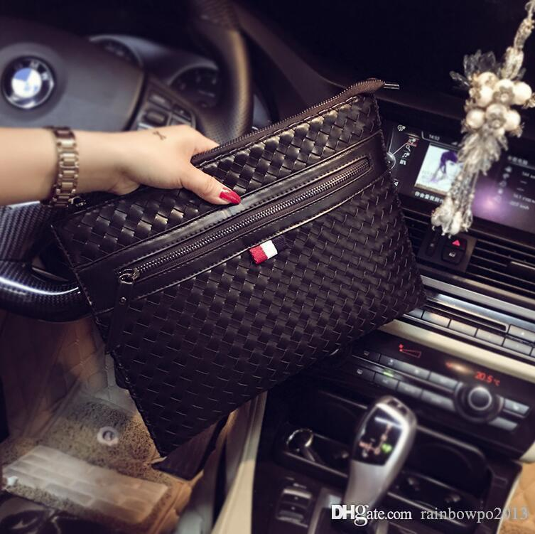 Factory direct brand men bag hand-woven business hand-heldbag fashion woven leather envelope bag personalized leather fashion messenger bag