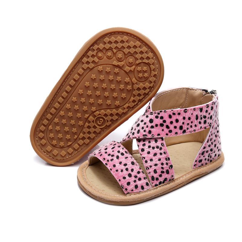 Zapatos de verano de bebé niño recién nacido de la muchacha del muchacho de los niños de cuna Zapatos suavemente único sólido Zipper causal Anti Slip primeros caminante 0-18M