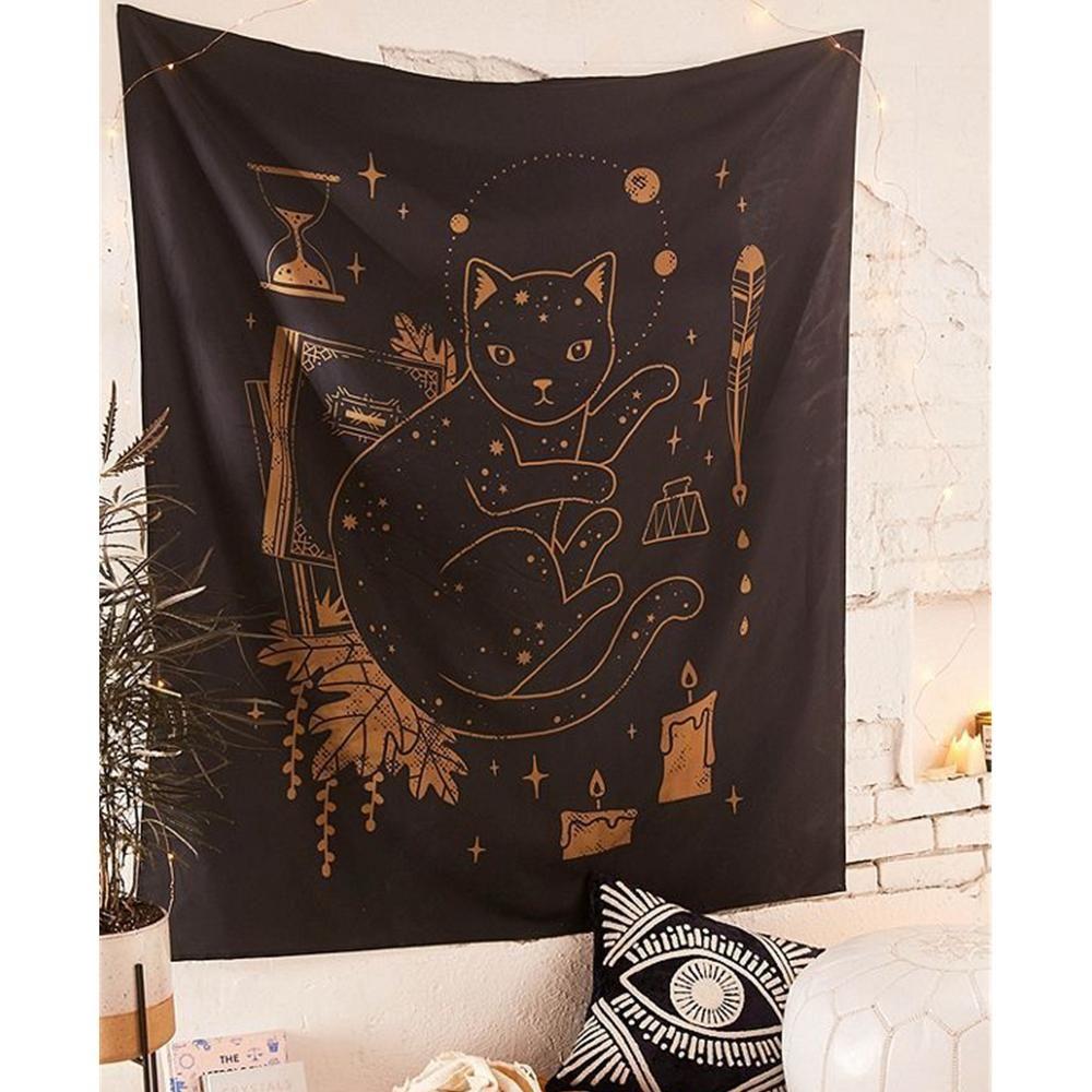 커피 타로 가구 및 장식용 벽걸이 와인 고양이 마법 위자 큰 벽 태피스트리 만다라 패브릭 보헤미안 장식 벽 천 태피스트리