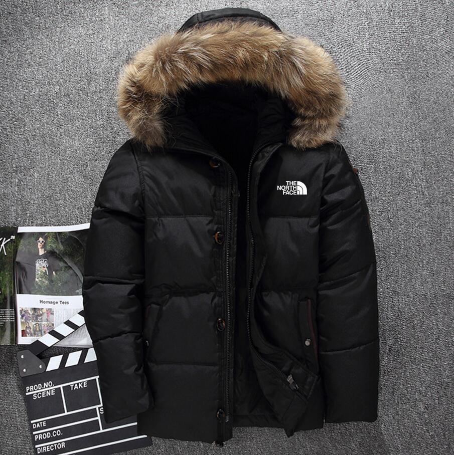 Новый Север Мужская одежда зимние пуховики парка держать тепло гусиный пух пальто мягкая оболочка шляпы толстые мужские открытый верхняя одежда лица куртки