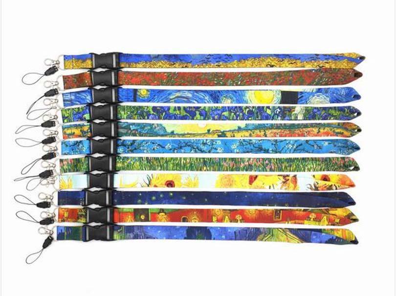 النفط الجديدة 10pcs فان غوخ اللوحة مفاتيح بطاقة الهوية رياضة الهاتف المحمول الأشرطة شارة USB حامل DIY الهاتف حبل شنق الحبل