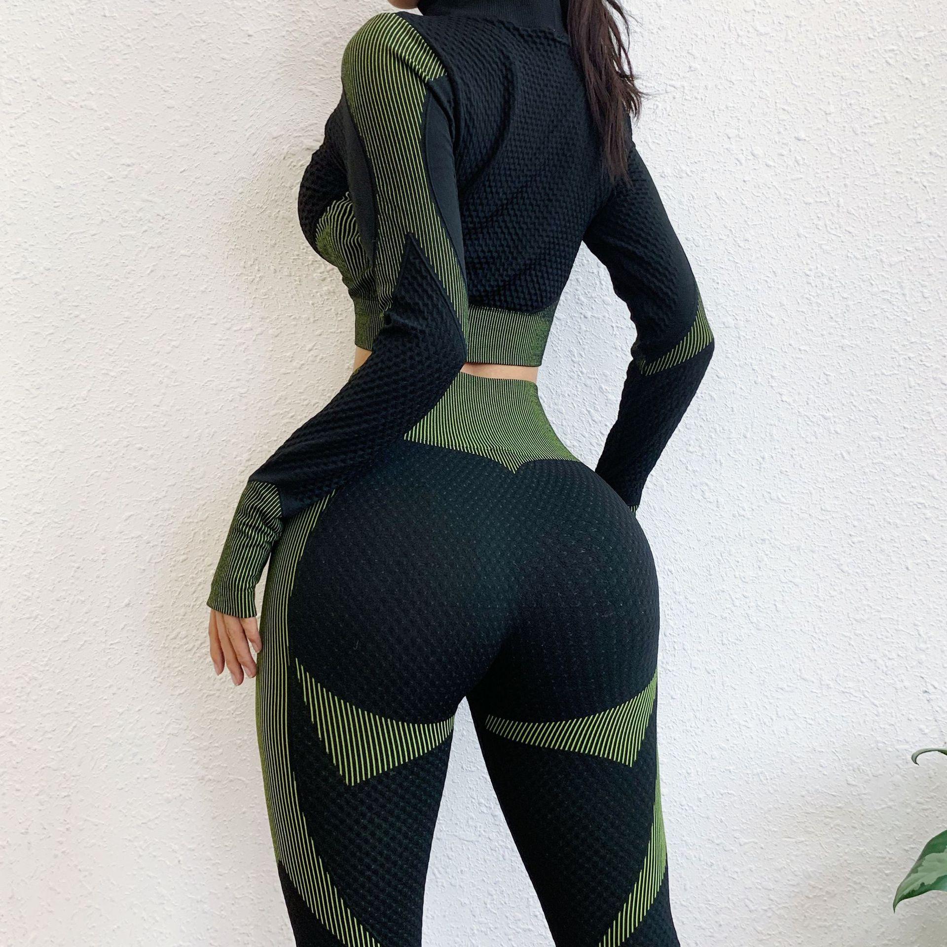 Kadın Egzersiz Spor Gym Fitness Dedikodu için Kadınlar Uzun Kollu Yoga Seti Fermuar Top Sport Suit Sorunsuz Egzersiz Giyim
