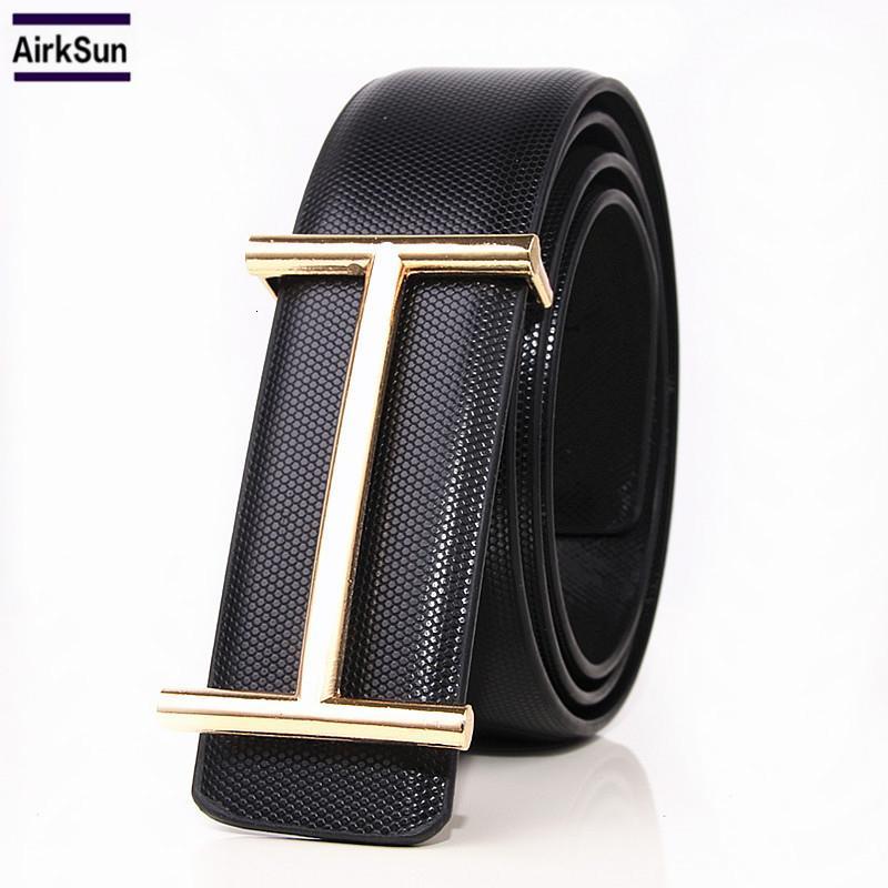 2017 nueva moda de lujo para hombre H hebilla de cinturón de cuero correas lisas de la hebilla de diseño de alta calidad del macho S18101807